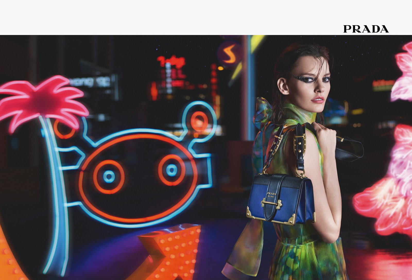 "Prada, ad campaign, ad campaign 2018, fashion, fashion house, ""Neon Dream"", brand, collection, Marilyn Monroe, Sarah Paulson, Amanda Murphy, model, actress, accessories, Prada Fall/Winter 2018 collection"