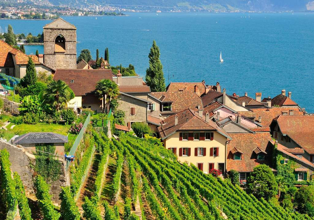 Europe's top wine regions, Tuscany Italy, Douro Valley Portugal, La Rioja Spain, Santorini Greece, Lavaux Switzerland, Bordeaux France, young wine, wine-producing regions, Tempranillo grape, wine fields, Lake Geneva, Saint Émilion, wine town, Franciscan cloister, wine tour